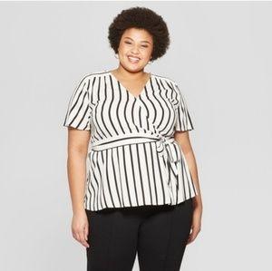 Womebs Plus Size Ava & Viv Womens Striped Wrap Top